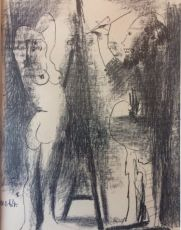 An amusing lithograph 'Peintre et Model' by Picasso by Pablo Picasso
