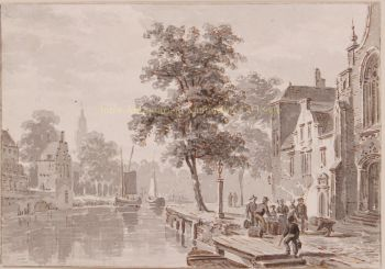 View of a Dutch town  by  Bartholomeus Johannes van Hove