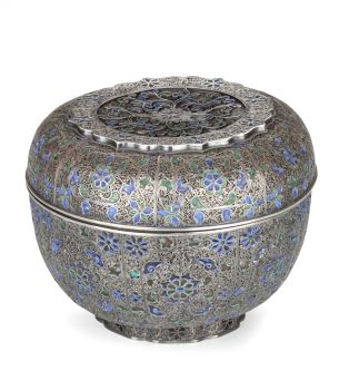 A LARGE INDONESIAN ENAMELLED SILVER FILIGREE BASKET AND COVER by Unknown Artist