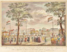 AMSTERDAM - STADHOUDER WILLEM EN PRINSES WILHELMINA VERTREKKEN UIT AMSTERDAM  by Fokke, Simon (active 1722-1784)