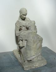 Mother breastfeeding her child by Charles van Wijk