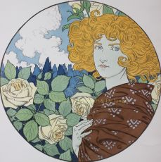 Jalousie/  Jealousy, lithograph designed by Eug ene Grasset in 1897 by Grasset, Eugene Samuel