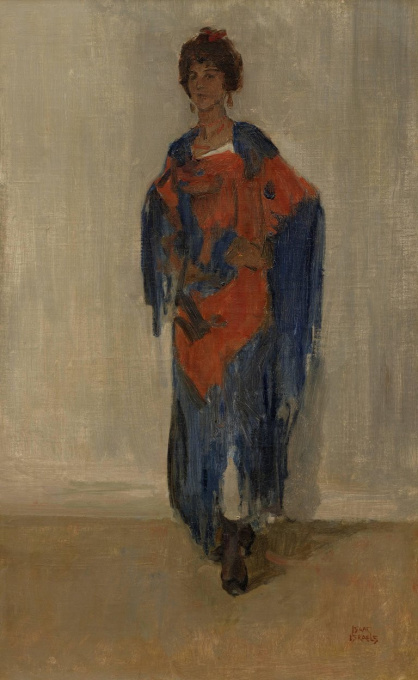 Elegant young woman in a red and blue dress; Possibly Guusje van Dongen (Kees van Dongen) by Isaac Israels