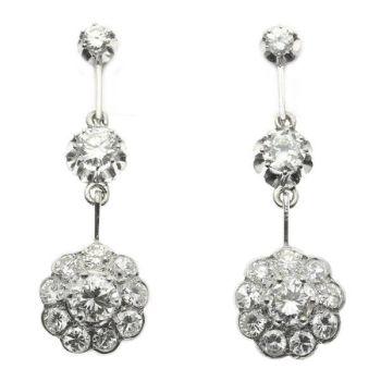 Glimmering diamond estate ear pendants by Unknown Artist