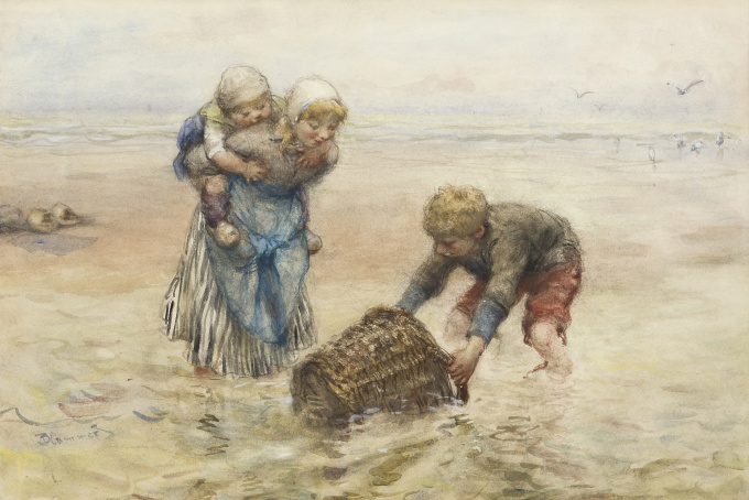 Kids playing in the surf by Bernardus Johannes Blommers