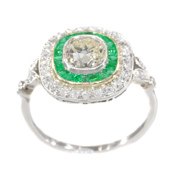 Vintage Art Deco style large diamond and emerald ring by Unknown Artist