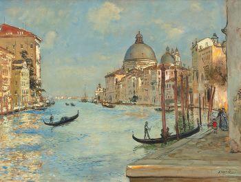 The Grand Canal with the Santa Maria della Salute in Venice by Jean-Francois Raffaelli