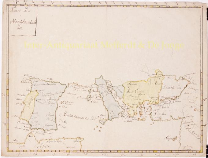 Manuscript map Mediterranean 19th century by Unknown Artist