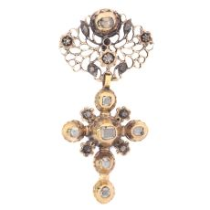 Solid gold mid 18th century cross with table cut rose cut diamonds by Unknown Artist