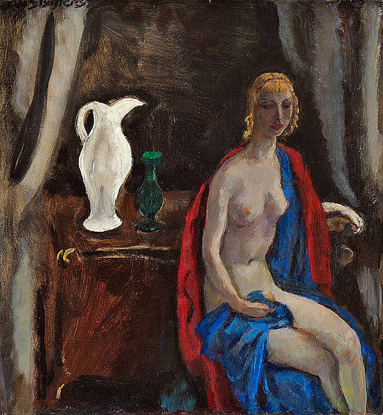 Sitting female nude with red shawl and white jug by Jan Sluijters