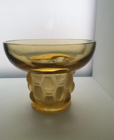 A yellow 'Beautreillis' vase by Lalique by René Lalique