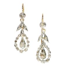 Late Georgian rose cut diamond long pendent earrings by Unknown
