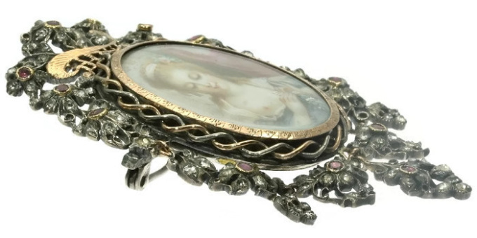 Romantic brooch pendant with painted miniature on ivory and paste stones by Unknown Artist