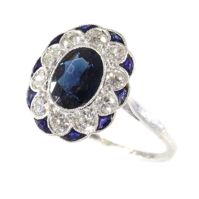 Charming original Art Deco vintage diamond and sapphire engagement ring by Unknown