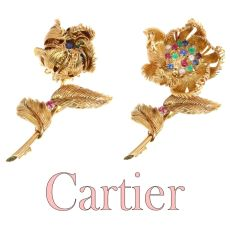 Cartier Vintage Fifties trembleuse brooch moveable flower that opens/closes by Cartier