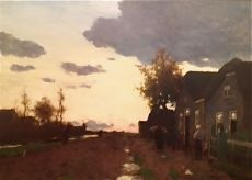 Impressionistic landscape (falling evening) by Hendrik Johannes (Jan Hendrik) Weissenbruch