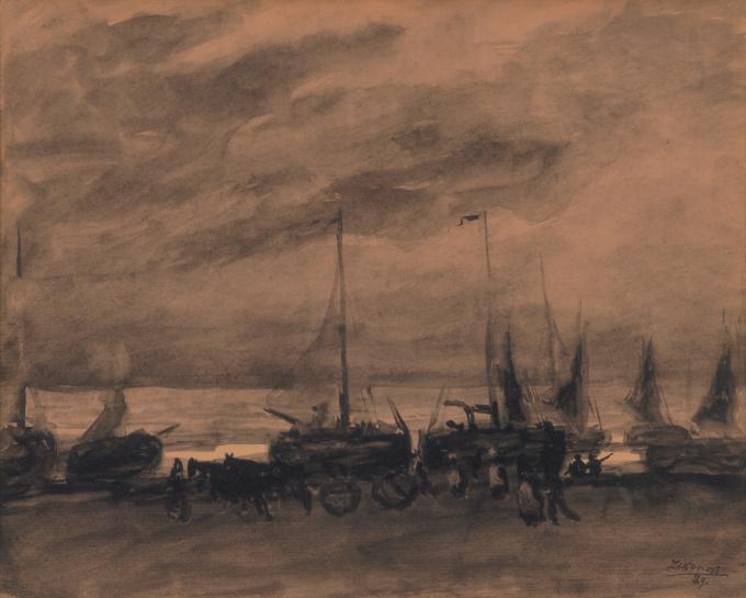 Ships on the Beach, Katwijk aan Zee by Jan Toorop