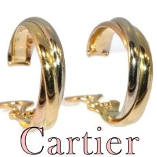 Vintage Signed Cartier ear clips model trinity three colours gold by Unknown Artist