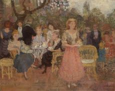 Company in the Garden by Albert Dasnoy
