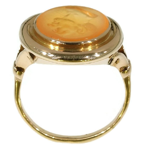 Early Victorian antique intaglio gold gents ring by Unknown Artist