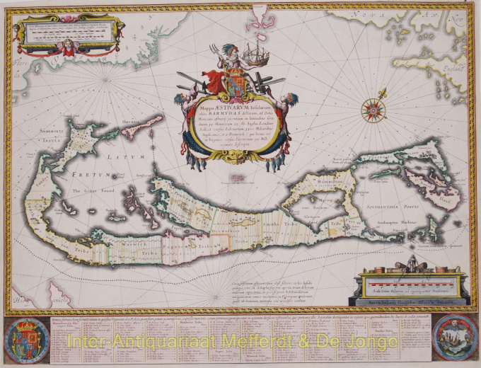 Antique Map of the Bermudas by Blaeu, Willem
