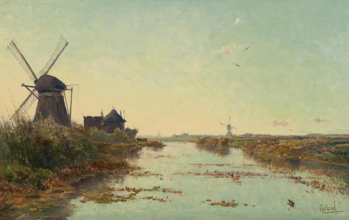 Windmills in a Dutch polder landscape by Paul Gabriel