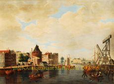 Amsterdam -  Gezigt op de Schreyer's Toren, de Kraan en de Nieuwe Stadsherberg by Samijn, L.