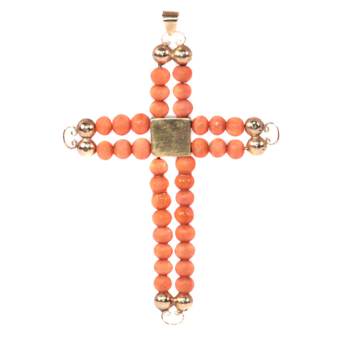 Antique Victorian 18K pink gold cross with blood coral beads by Unknown Artist