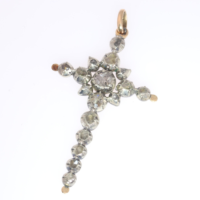 Victorian rose cut diamond cross pendant by Unknown Artist