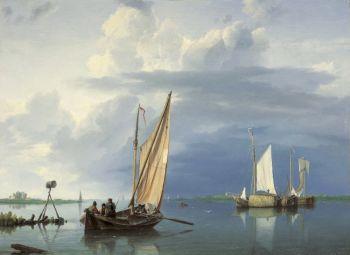 A river view by Hermanus Koekkoek
