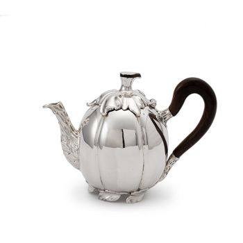 Dutch silver pumpkin-shaped teapot by Salomon Lamberts