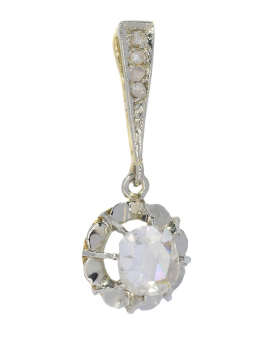 Art Deco diamond pendant with large rose cut diamond by Unknown Artist
