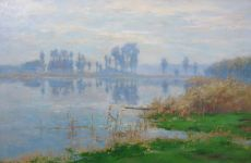 Foggy sunlight on the Vecht by Adrianus Miolée
