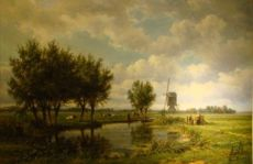 Landscape with peasants by Jan Willem van Borselen