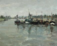 Moored fishing cutters in Normandy by Abel Bertram