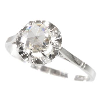 Vintage Art Deco platinum diamond engagement ring with large rose cut diamond by Unknown Artist