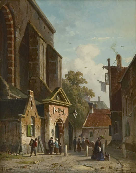 A view of the Waalse Kerk, Haarlem by Adrianus Eversen