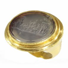 "Gold 18th Century erotic intaglio ring The triumph of Priapus"""" by Unknown Artist"
