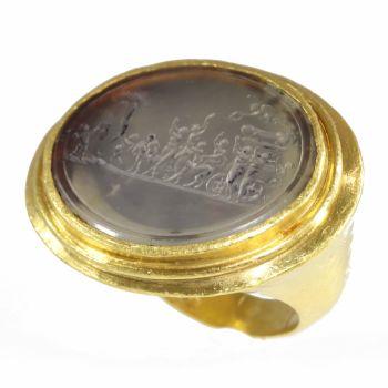 "Gold 18th Century erotic intaglio ring The triumph of Priapus"""" by Unknown Artist"