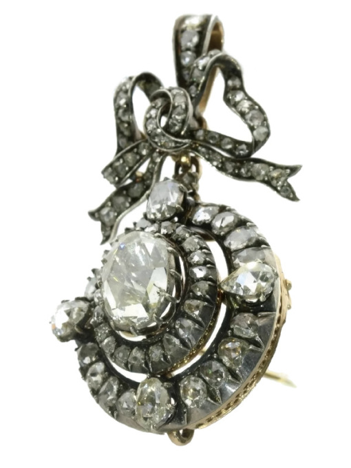 Magnificent Victorian brooch pendant with humungous rose cut diamond by Unknown