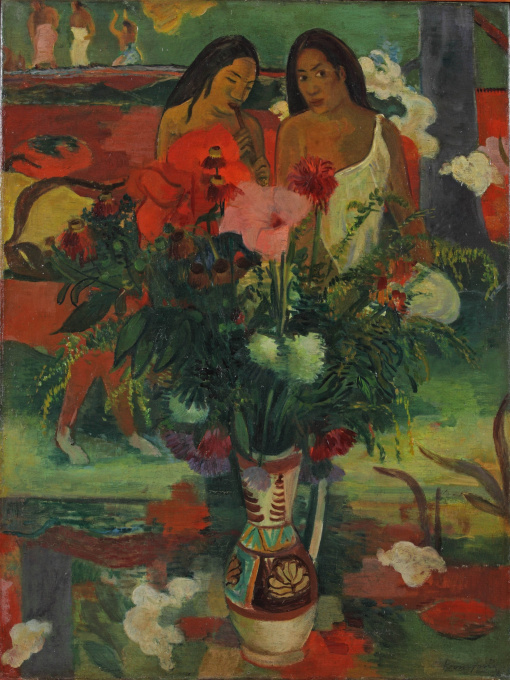 'Flowers in front of Arearea Aka (joyousness) by Gauguin' by Paulus Franciscus Kromjong