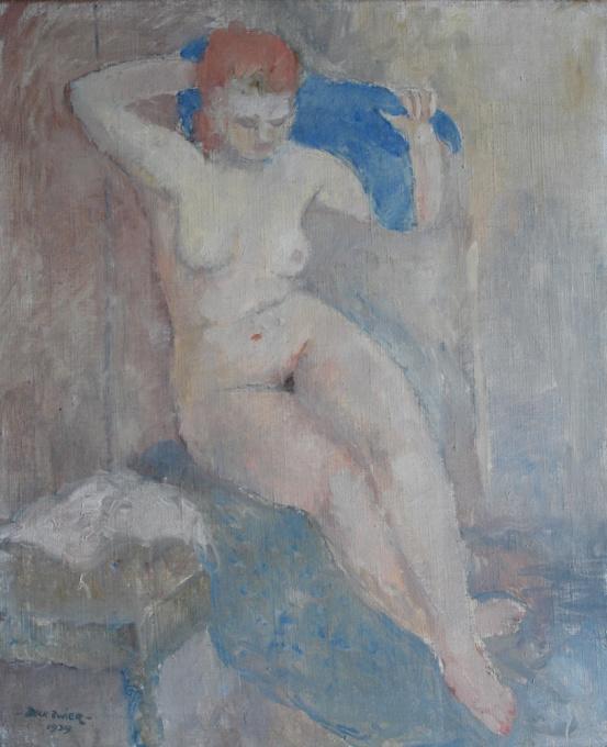 Sitting female nude by Dick Zwier