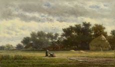 Behind the farm by Willem Roelofs