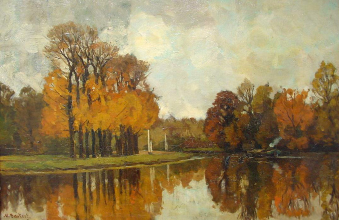 View on the river Vecht in the fall by Nicolaas Bastert