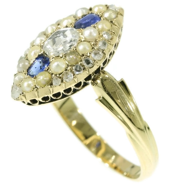 Orginal antique Victorian ring with rose cut diamonds sapphires and seed pearls by Unknown