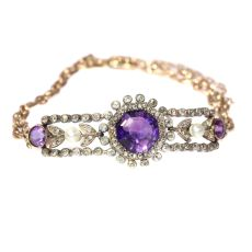 Antique gold bracelet with amethyst diamonds and pearls by Unknown