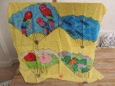 silk scarf, no titel (four fans) by Walasse Ting