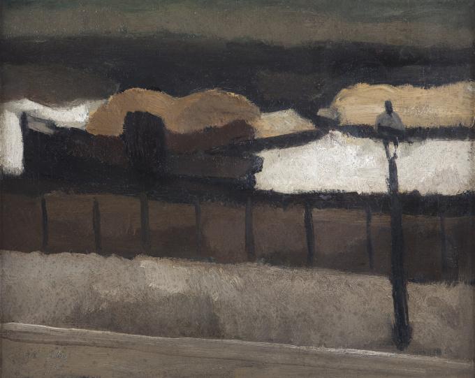 View from the painter's studio in winter by Toon Kelder