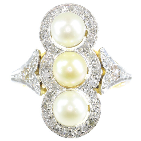 Vintage diamond and pearl ring from the Fifties by Unknown