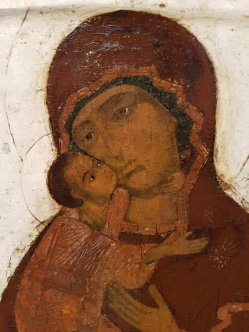 Russian icon: The Mother of God of Vladimir, late 17th century by Unknown Artist